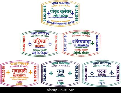 Set of stylised passport stamps for major airports of eastern India in vector format. - Stock Photo