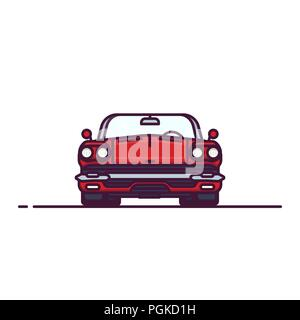 Front view of red muscle sport car with convertible hood. Cabriolet old style vehicle. Line style vector illustration. Vehicle and transport banner. R - Stock Photo