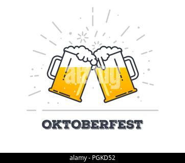 October fest concept. Two gig glasses with fresh yellow live beer and white foam, and bubbles. Line style flat vector illustration. Beer festival conc - Stock Photo