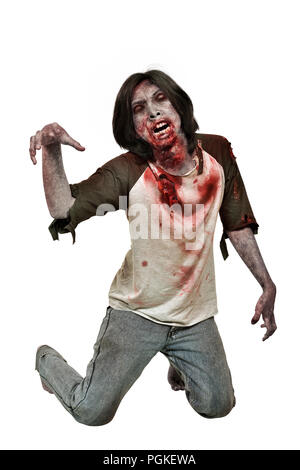 Portrait of zombie man with bloody mouth posing isolated over white background - Stock Photo
