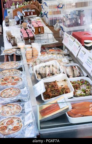 Bibury Trout farm fish stall at Deddington farmers market. Deddington, Oxfordshire, England - Stock Photo