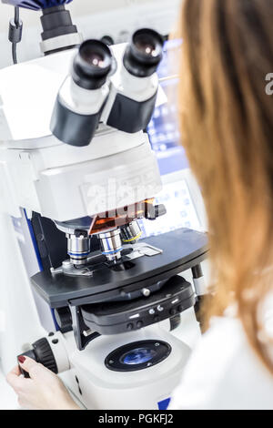 Female scientist microscoping on hi-tec fluorescent microscope. Health care professional in hes working environment. - Stock Photo