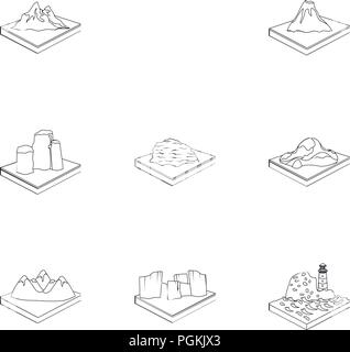 Mountains, rocks, lighthouse, volcano and other land reliefs. Mountains and landscapes set collection icons in outline style isometric vector symbol s - Stock Photo