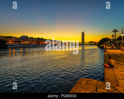 Sunset on the river in Seviile - Spain - Stock Photo