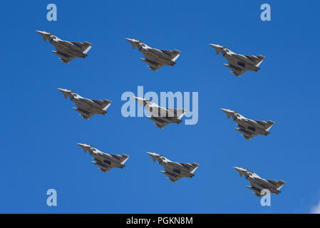 RAF Royal Air Force Eurofighter Typhoon formation of diamond nine for RAF100 at RIAT Royal International Air Tattoo airshow RAF Fairford - Stock Photo