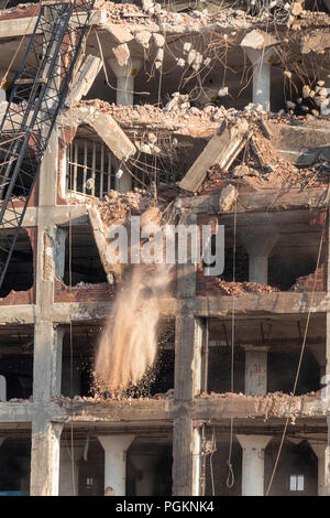 Rock Island, Illinois - Workers use a wrecking ball to demolish the Rock Island Plow Company building. Subsequently used by J.I. Case, the building ha - Stock Photo
