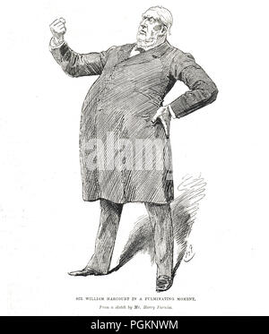 Sir William Harcourt in a fulminating moment by Harry Furniss - Stock Photo
