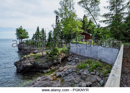 Cabin with sweeping views of Lake Superior in Lutsen,  Minnesota, USA - Stock Photo
