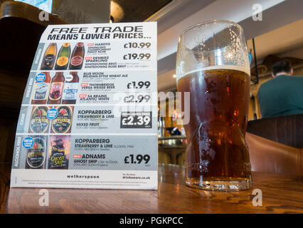 'Free trade (post Brexit) means lower prices' info in JD Wetherspoons pub in England. UK - Stock Photo
