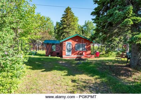 Cabins located a short walk from Lake Superior, near Grand Marais, Minnesota, USA. - Stock Photo