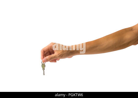 Close-up a man hand holding silver key against white background include clipping path easy to cutout. - Stock Photo
