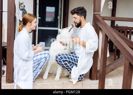 Beaming couple having fun with their white dog in the morning - Stock Photo