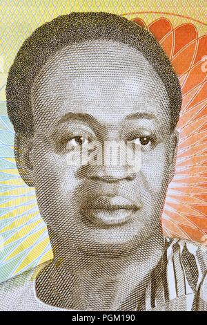 Kwame Nkrumah portrait from Ghanaian money - Stock Photo
