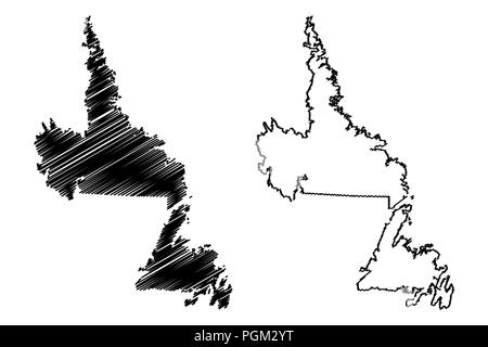 Newfoundland and Labrador (provinces and territories of Canada) map vector illustration, scribble sketch Newfoundland and Labrador map - Stock Photo