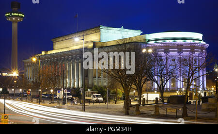 St George's Hall, Lime St, Liverpool, March 2018,  with the Liver Building on the right, in the distance. - Stock Photo