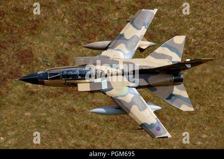 Panavia Tornado IDS ZH917 Royal Saudi Air Force, BAe Warton test pilots fly through the Mach Loop LFA7 Wales - Stock Photo