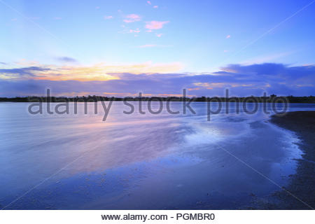 Sunrise morning view of Dongsha Island Lagoon - Stock Photo