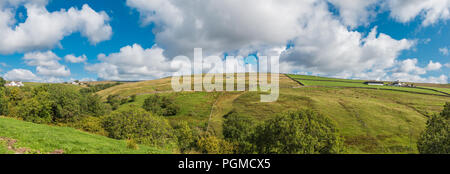 North Pennines AONB panoramic landscape, Ettersgill, Teesdale, UK in summer sunshine - Stock Photo