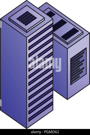 dataserver center tower cpu computer network data - Stock Photo