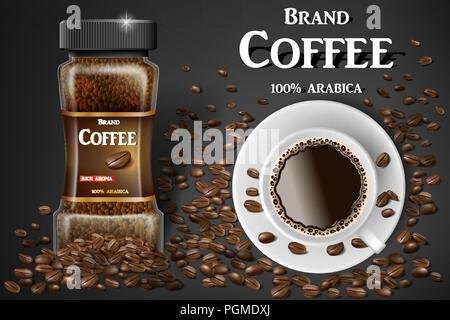 Black instant coffee cup top view and beans ads. 3d illustration of hot coffee mug. Product design with bokeh background. Vector - Stock Photo