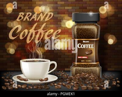 Black Arabica coffee cup with beans ads. 3d illustration of hot coffee mug. Product retro design with bokeh and brick background. Vector - Stock Photo