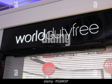 LONDON, UK - AUGUST 31, 2018: World Duty Free display board in international airport. - Stock Photo