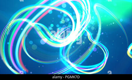 A stunning 3d illustration of shimmering white, pink and celeste strokes twisting and making loops in the bright blue background. Some transparent bub - Stock Photo