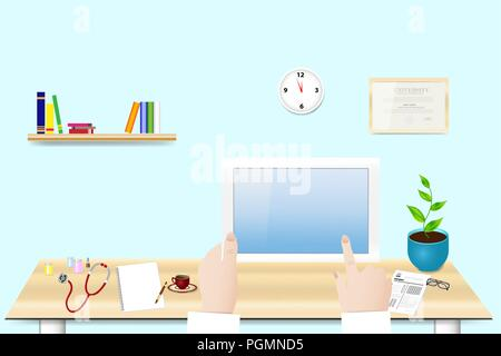 Doctor is holding tablet in her hand in office. Empty tablet screen is ready for your text. All potential trademarks are removed. - Stock Photo