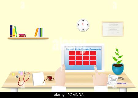 Doctor is holding tablet in her hand in office. The inscription Electronic Medical Record Components  is on the tablet screen. You can write the text  - Stock Photo