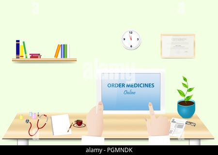 Doctor is holding tablet in her hand in office. The inscription Order Medicine Online  is on the tablet screen. - Stock Photo
