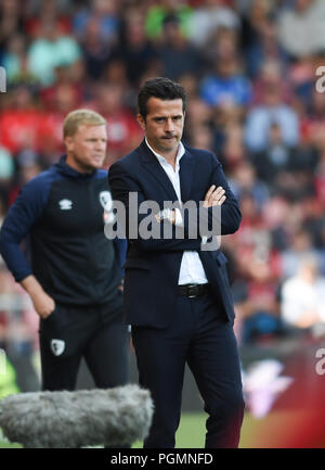 Everton manager Marco Silva during the Premier League match between AFC Bournemouth and Everton at the Vitality Stadium , Bournemouth , 25 Aug 2018 Editorial use only. No merchandising. For Football images FA and Premier League restrictions apply inc. no internet/mobile usage without FAPL license - for details contact Football Dataco - Stock Photo