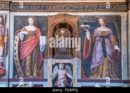 Fresken in  der Klosterkirche San Maurizio al Monastero Maggiore, Mailand, Lombardei, Italien  | wall frescoes,  Saint Maurice al Monastero Maggiore,  - Stock Photo
