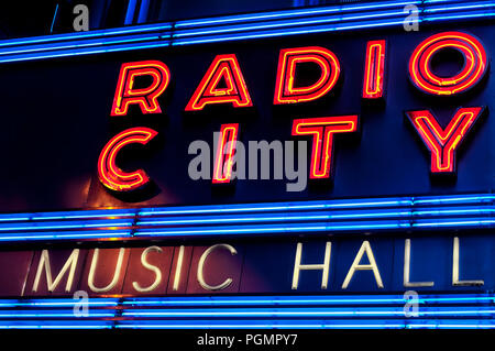 June 10, 2017.  New York City, New York. The iconic Radio City Music Hall Marquee neon lights lit up at night in New York City. - Stock Photo