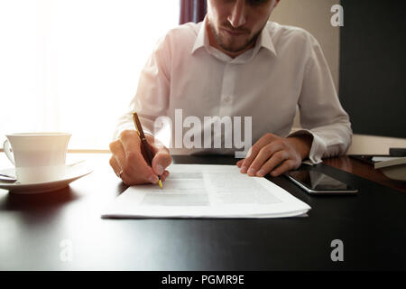 Close up business man signing contract making a deal, classic business. - Stock Photo