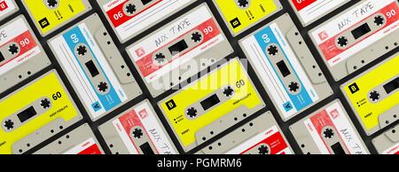 1970s-1980s party music. Vintage audio cassettes background, banner. 3d illustration - Stock Photo