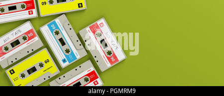 1970s-1980s party music. Vintage audio cassettes on bright green background, banner, copy space. 3d illustration - Stock Photo