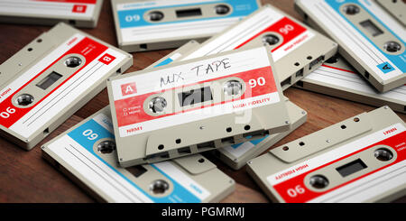1970s-1980s party music. Vintage audio cassettes on wooden background, mix tape label, 3d illustration - Stock Photo
