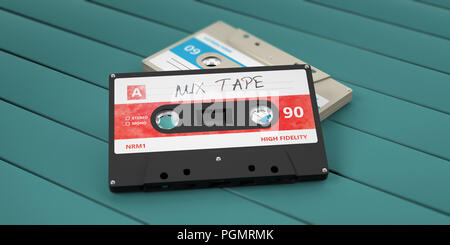1970s-1980s party music. Vintage audio cassettes, text mix tape on the label, isolated on wooden background. 3d illustration - Stock Photo