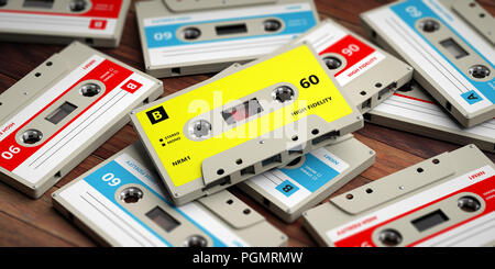 1970s-1980s party music. Vintage audio cassettes on wooden background, 3d illustration - Stock Photo