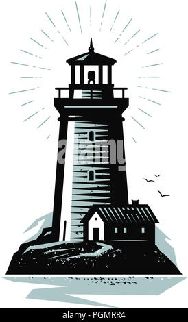 Lighthouse logo or label. Marine concept. Vector illustration - Stock Photo