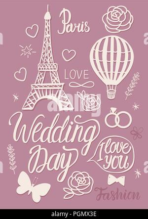 Wedding in a vintage Parisian style. Set illustrations elements Eiffel Tower, air balloon and lettering inscription. - Stock Photo