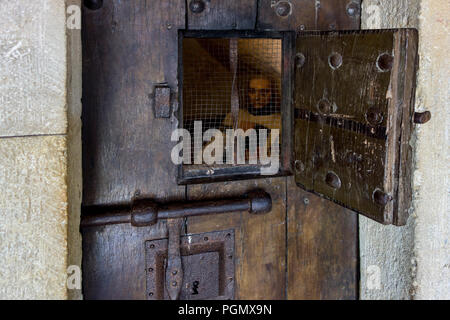 Lock And Door Of A Prison Cell At A Medieval Prison Stock