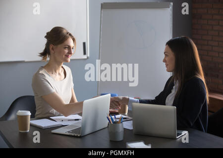 Female business partners handshaking after successful negotiatio - Stock Photo