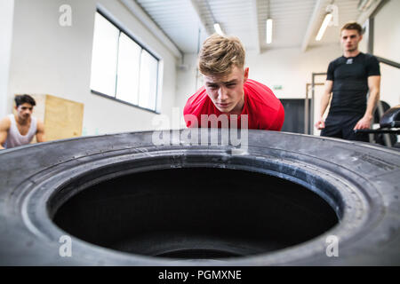 Fit young man with his friends in gym working out, moving large tire. - Stock Photo
