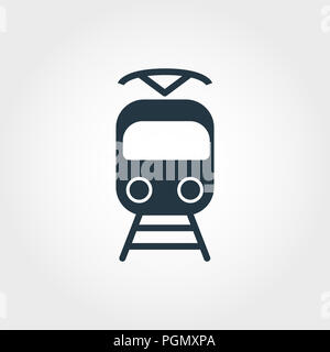 Tram creative icon. Simple element illustration. Tram concept symbol design from transport collection. Can be used for web, mobile and print. web desi - Stock Photo