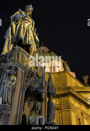 The statue of King Charles IV in Krizivnicke Square, Prague, Czech Republic, Europe - Stock Photo