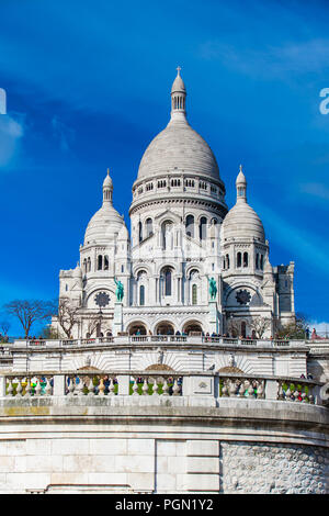 The Sacre Coeur Basilica at the Montmartre hill  in Paris France - Stock Photo