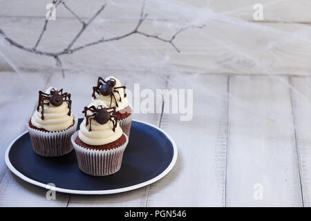 Festive Halloween cupcakes with chocolate spiders in black plate on white wooden planks in blue moonlight, spider web background - Stock Photo