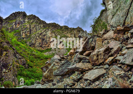 Picturesque cloudy summer landscape of mountain gorge in the Altai Mountains, Russia. Cracked limestone rocks covered with moss and lichen and a pile  - Stock Photo