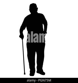 Old man silhouette with stick on white background, vector illustration - Stock Photo